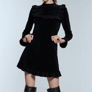 ZARA Black Chenille Knit Longsleeve Dress Size M